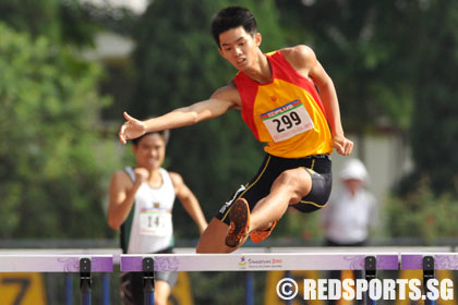 A Division 400m Hurdles Timothee Yap of HCI breaks record twice to win gold