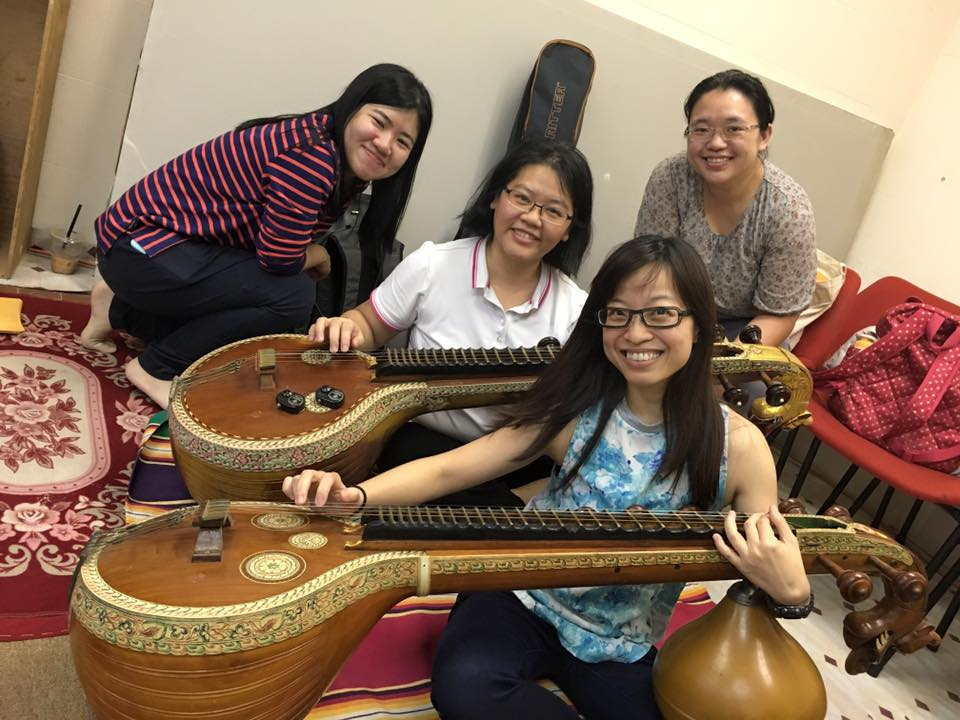 1274 Ms Ng and fellow music teachers at an Indian music workshop