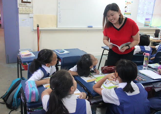 Mrs Joy Zhang and her students at CHIJ Kellock.